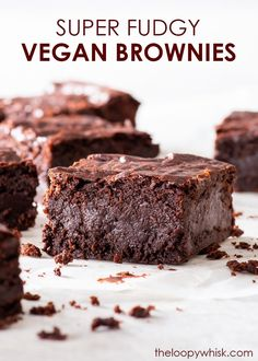 These are the best vegan brownies you'll ever taste. They're perfectly fudgy, intensely chocolatey, super easy to make and require only 7 ingredients! Vegan Chocolate Brownies, Cocoa Brownies, Fudgy Brownies, Chocolate Desserts, Decadent Chocolate, Dairy Free Cheesecake, Dairy Free Brownies, Brownie Toppings, Brownie Recipes