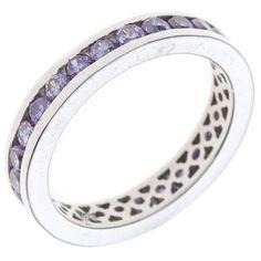 Hübscher Silberring mit lila-farbenen Zirkonias, einreihig rundum - Ein wunderbares Geschenk!