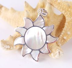 Sterling Silver, Sunshine, Mother of Pearl Pendant, Bohemian Style - #ys304
