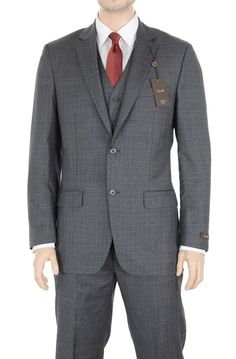 Tasso Elba Classic Fit Gray Plaid Three Piece Wool Suit at Amazon Men's Clothing store:
