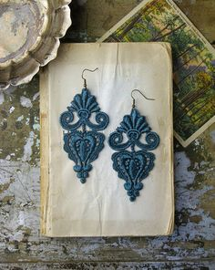 lace earrings LEILA deep teal by whiteowl on Etsy, $22.00...check out this Etsy shop!  These are so cool!!