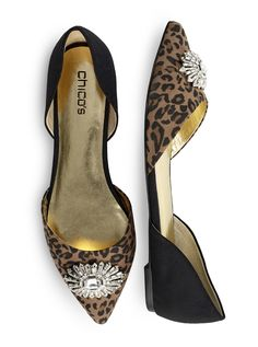 Chico's D'Orsay Embellished Leopard-Print Flats