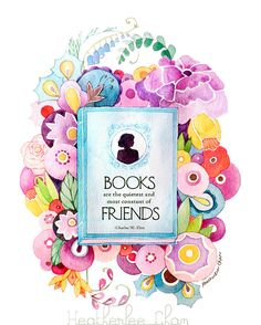 Book Painting and Flowers - Watercolor Print
