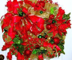 Christmas wreath, Christmas deco mesh wreath, wreath, door hanger,deco mesh wreath, Red Gold, green wreath,Christmas decor, holiday wreath on Wanelo