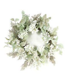Look what I found on #zulily! Glittered Hydrangea & Berry Wreath #zulilyfinds