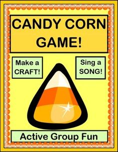 """ACTIVE GAME, CRAFT, and SONG! Make a """"Mr. Candy Corn"""" CRAFT, and play a funny GROUP GAME with Directed Movement. Learn a simple 4-note SONG about colors, triangles, and eating candy corn! Three SIGHT WORD COLOR CARDS are included. This funny game ends with eating a piece of candy corn, of course! (9 pages) Bring some Active Fall Fun from Joyful Noises Express TpT! $"""