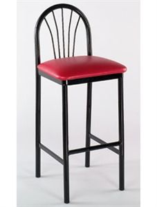 Seat your guests with a grand expression of luxurious fashion. Our fan-back, black metal PARLOR BAR STOOL is sturdy. Vinyl upholstered seating lends a relaxing atmosphere to your event. http://commercialseats.com/Products/480-parlor-bar-stool.aspx