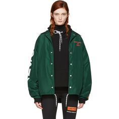 Heron Preston Green DSNY Edition Coach Jacket (815 CAD) ❤ liked on Polyvore featuring outerwear, jackets, green, satin jackets, coach jacket, green drawstring jacket, green jacket and drawstring jacket