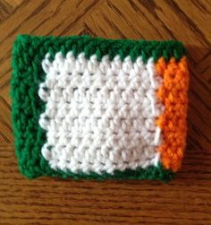Irish flag Cozie. Perfect for St. Patrick's day! Check out LDJ Crochet on Facebook!