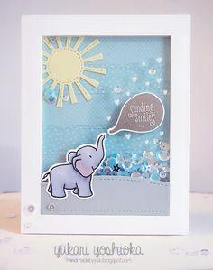 """Sending Smiles"" Shaker Card by Handmade by Yuki   ""Bubble Talk"" By WPlus9 & Pretty Pink Posh"