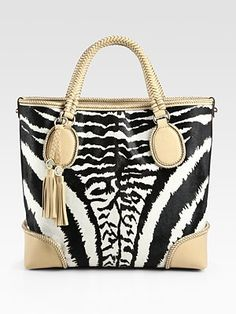 Gucci Marrakech Medium Zebra-Print Haircalf Tote Bag