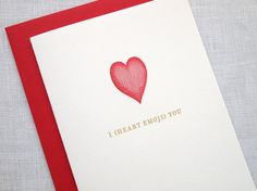Letterpress Heart Emoji Greeting Card by missive on Etsy