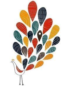 A Little colorful Peacock Print Bird Animal Illustration Modern Large 13 X 19. $35.00, via Etsy.