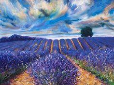 (?)Vincent van Gogh: title unknown [Fields of lavender, perhaps in France.] medium: oil on canvas? School: Impressionism, en plein air.