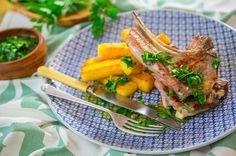Lamb Chops with Rosemary Polenta Chips