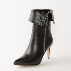 Boots - Black stiletto zipper ankle boots @shoesofexception #sexy #zipper #boots