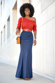 Off Shoulder Rust Sweater + Mermaid Style Maxi Skirt Style Pantry waysify Maxi Skirt Style, Skirt Outfits, Red Maxi Skirts, Maxi Dress With Sleeves, The Dress, Short Beach Dresses, Sexy Dresses, Modest Fashion, Fashion Outfits