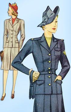 1940s Original Vintage Simplicity Pattern 4151 Misses WWII Tailored Suit Sz 30 B