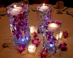 floating flowers and candle