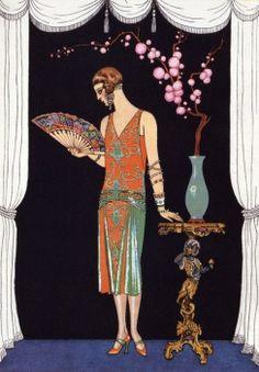 Deco print - Georges Barbier Worth Evening Dress Fashion Plate from Gazette Du Bon Ton 1925 Art Deco Illustration, Fashion Illustration Vintage, Art Vintage, Vintage Posters, Art Quotidien, Art Nouveau, Moda Art Deco, French Art Deco, Art Deco Stil