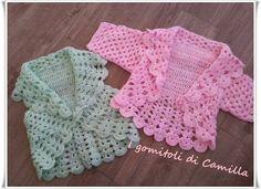 Bolero A Uncinetto Semplicissimo Per Bim - Diy Crafts Crochet Shrug Pattern, Crochet Hook Set, Crochet Stitches Patterns, Baby Knitting Patterns, Crochet Motif, Diy Crochet, Baby Patterns, Crochet Hats, Crochet Girls