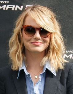 Emma Stone Shoulder Length Hairstyle - Celebrity Bobs