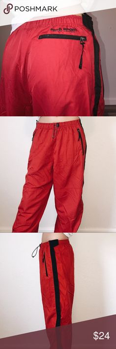 "polo ralph lauren pants polo ralph lauren sweat/track pants 🤤 red windbreaker material says polo sport on butt above zipper zipper is broken on one side of the leg, but it velcro's so it's not a big problem, it still covers your legs ☺️ adjustable waist no stains or holes  these are so bomb they just don't fit me right!!  men's medium  model is 5'5 120lbs 27"" waist  make an offer message me if you have any questions 💛 Polo by Ralph Lauren Pants Sweatpants & Joggers"