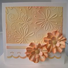 handmade card from Julie's Inkspot ,,, dimensional flowers ... peaches and cream ... embossing folder texture ... delightful!