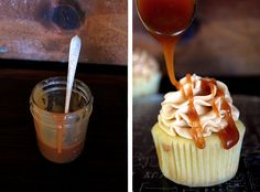 Salted Caramel Cupcakes - The Merrythought  NOTE: sub Swiss meringue or Italian buttercream for the powdered sugar 'American' buttercream