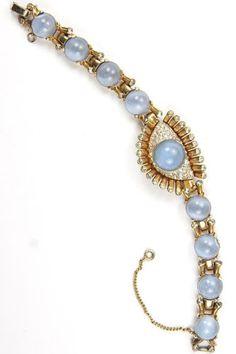9200 14K Rose Gold Moonstone Cabochon Blue Sapphire HUGE 56g