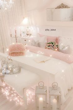21 Cozy Decor Ideas With Bedroom String Lights is part of Girly Room Decor Ideas - Mesmerizing decoration ideas with bedroom string lights can be found in our photo gallery Discover our ideas for interior and exterior and get inspired Girly Bedroom Decor, Cute Bedroom Ideas, Cute Room Decor, Girl Bedroom Designs, Bedroom Colors, Wall Decor, Girl Bedroom Decorations, Bedding Decor, Wall Lamps