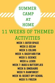 11 Weeks of Summer Camps at Home! Themed activities and ideas for kids at VBS!