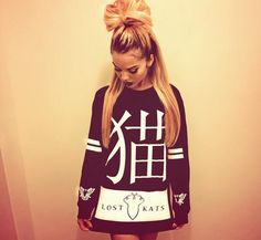 Lost Kats. Sweatshirt. Hairstyle. Swag Girl. Dope. Trill. Urban Fashion. Hip Hop Fashion. Hip Hop Outfit