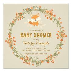 Baby Woodland Fox Baby Shower Card