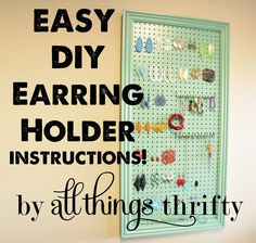 DIY earring holder from All Things Thrifty. #organization #pennywisepresent