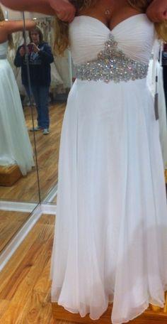 Dress: long white prom homecoming rhinestone sweetheart neckline formal homecoming prom long white