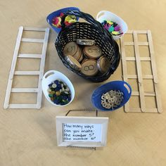 Thinking and Learning in Room composing and decomposing number provocation for kindergarten numeracy - Jen Young-Weston - Kindergarten Inquiry, Numbers Kindergarten, Inquiry Based Learning, Math Numbers, Preschool Math, Elementary Math, Maths, Kids Math, Decomposing Numbers