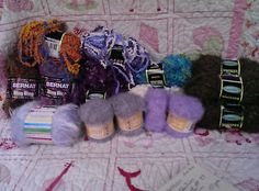 MIXED Lot Yarn Bee Sensations Bernat Bling Viola Eyelash Specialty Whisper Viola
