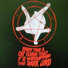 Cats are like us. They worship father Satan. Crazy Cat Lady, Crazy Cats, The Bloodhound Gang, Satanic Art, Dark Lord, Cat Grooming, Cool T Shirts, Worship, The Darkest