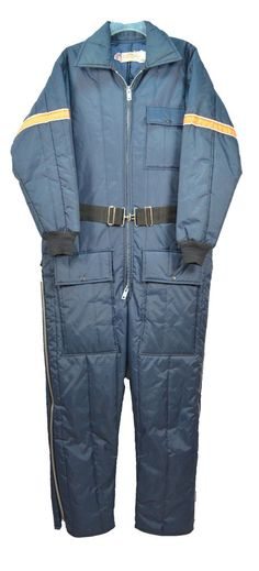 Vintage Mens Saftbak Insulated Snowmobile Suit Ski Coveralls Medium USA Blue #Saftbak
