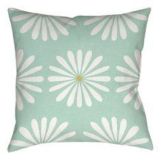 Jar of Sunshine Vintage Daisy Printed Throw Pillow