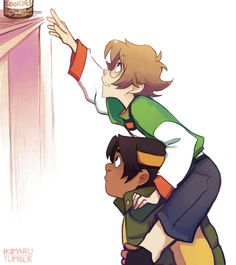 Pidge and Hunk reaching for peanut butter cookies from Voltron Legendary Defender