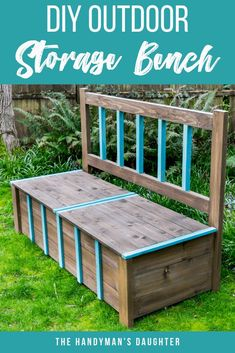 This DIY outdoor storage bench is perfect for hiding away all those backyard toys! Get the free woodworking plans to make this storage bench yourself at The Handyman's Daughter! Diy Storage Bench Plans, Diy Bench, Patio Bench, Storage Ideas, Rustic Outdoor Furniture, Diy Furniture, Outdoor Decor, Plywood Furniture, Furniture Plans