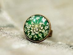 Grass Green Ring with Real Dried Flowers II