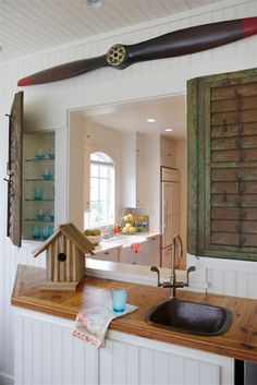 Shutters as cabinet doors (replace mirrored cabinet door)