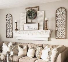 Shelf above brown sofa? Living Room Remodel, My Living Room, Decor Above Sofa, Living Room Wall Decor Ideas Above Couch, Family Room Walls, Family Room Decorating, Decorating Ideas, Farmhouse Wall Decor, Brown Sofa