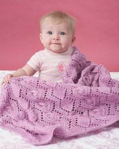 Bernat: Pattern Detail - Baby Sport - Cable and Lace Blanket (knit)