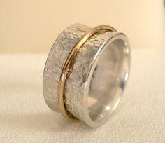 Silver & 18 Karat Gold Meditation Ring by ModernistaJewelry