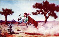 Necking the Baby  Western L. H. Dude Larsen Vintage Postcard