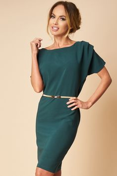 Rochie Office Verde One Shoulder, Shoulder Dress, Cocktail, Dresses, Fashion, Green, Vestidos, Moda, Fashion Styles